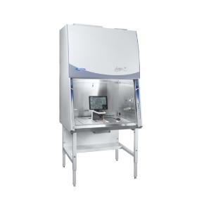 Rebel Logic+ biosafety cabinet shown with discover echo rebel microscope