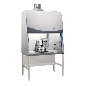 Purifier Cell Logic+ Class II Type B2 Biosafety Cabinet on Stand, Shown with Microscope