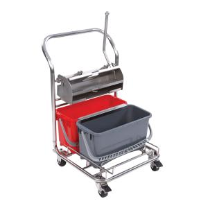 Compact Stainless Steel and Polypropylene Double Bucket System with Drip Cap and Casters