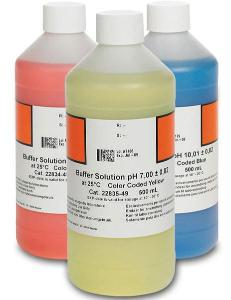 pH Buffer Solution Kits, Color-Coded, pH 4.01, pH 7.00 and pH 10.01, Hach